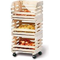PEGANE Caisse Etagére cagette pour Rangement en Bois empilables pour Fruits et légumes, 30 x 37 x 80 cm
