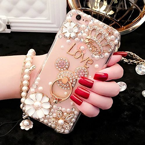 J7 Diamond Case,J7 Crystal Rhinestone Case,Luxury Bling Diamond Crystal Rhinestone Ultra Thin Slim Clear Back Cartoon Mouse Ears Phone Case Cover For Samsung Galaxy J7 2015 by Max-BLV