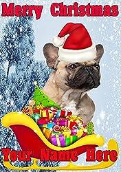 Französische Bulldogge Santa Schlitten nnc215Humorvolle Weihnachten Karte A5personalisierbar Karten geschrieben von uns Geschenke für alle 2016von Derbyshire UK