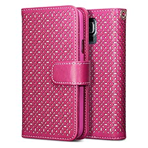 Terrapin Ätzen Blumen Handy Leder Brieftasche Case Hülle mit Kartenfächer für Samsung Galaxy S5 Hülle Pink