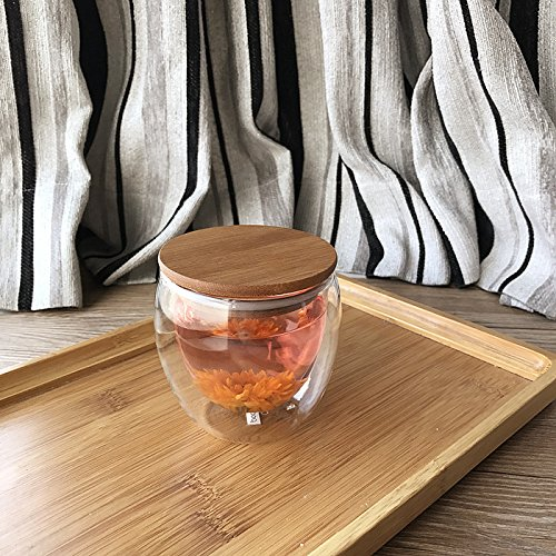 Damlonby Verre résistant à la chaleur de la couche double plateau tasse tasse tasse tasse isotherme jus transparent ,250ml tasse + rend l'anneau en caoutchouc couvercle en bambou