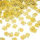 Willbond Oro 50°Compleanno Coriandoli, 50 Coriandoli Numero,50th Party Confetti, 2 Sacchetti (1400 Pezzi)
