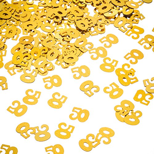 Willbond Confetti by 50a Golden Birthday, 50 Number Confetti, 50a Party Confetti, 2 Bags (1400 Pieces)