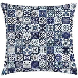 DIYCCY Funda de cojín marroquí con elementos arquitectónicos antiguos, diseño de mandala y damasco, decorativo, cuadrado, 45,7 x 45,7 cm
