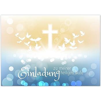 K74 Einladungskarten zur Taufe mit Innentext f/ür Jungen und M/ädchen Motiv goldene Schuhe 10 Klappkarten DIN A6 mit wei/ßen Umschl/ägen im Set Taufekarte mit Kuvert Einladung Taufe