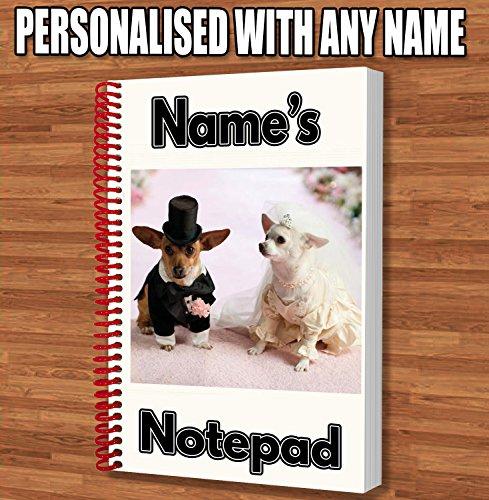 Braut und Bräutigam Chihuahua Hund Personalisiertes Geschenk–A5Notizblock/Notebook–Name Gedruckt Auf den Bezug (Bräutigam Boxer)