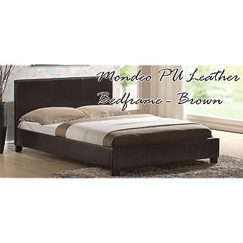 King Size Chocolate Brown Bed Frame 5ft Faux Leather Prado Amazon