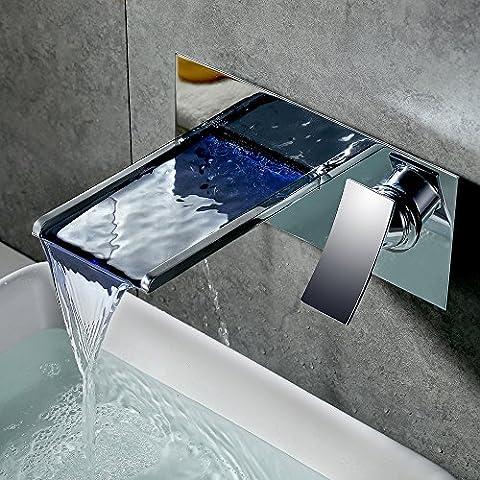 Homelody Robinet Mitigeur Plateau Cascade Chromé Monotrou LED Levier de Commande pour Salle de bain Lavabo Vasque 2 points de Fixation Murale à Encastrer pour Salle de bains