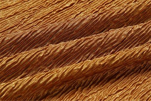 a Maniche Lunghe Off The Shoulder Spalle Scoperte fondo a volant Wrinkled Fabric Blouse Blusa Camicetta T-Shirt Maglietta Shirt Camicia Corti Corto Crop Top Giallo