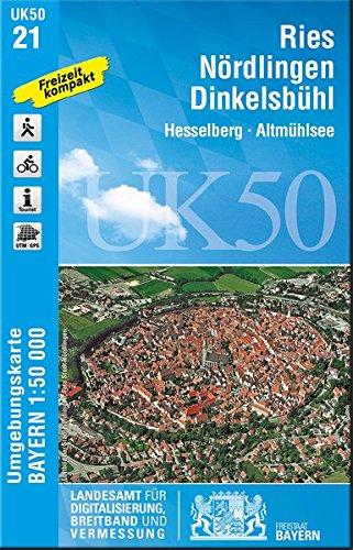 UK50-21 Ries, Nördlingen, Dinkelsbühl: Hesselberg, Altmühlsee, Nördlinger Ries, Merkendorf, Wassertrüdingen, Oettingen in Bayern, Feuchtwangen, ... Karte Freizeitkarte Wanderkarte)