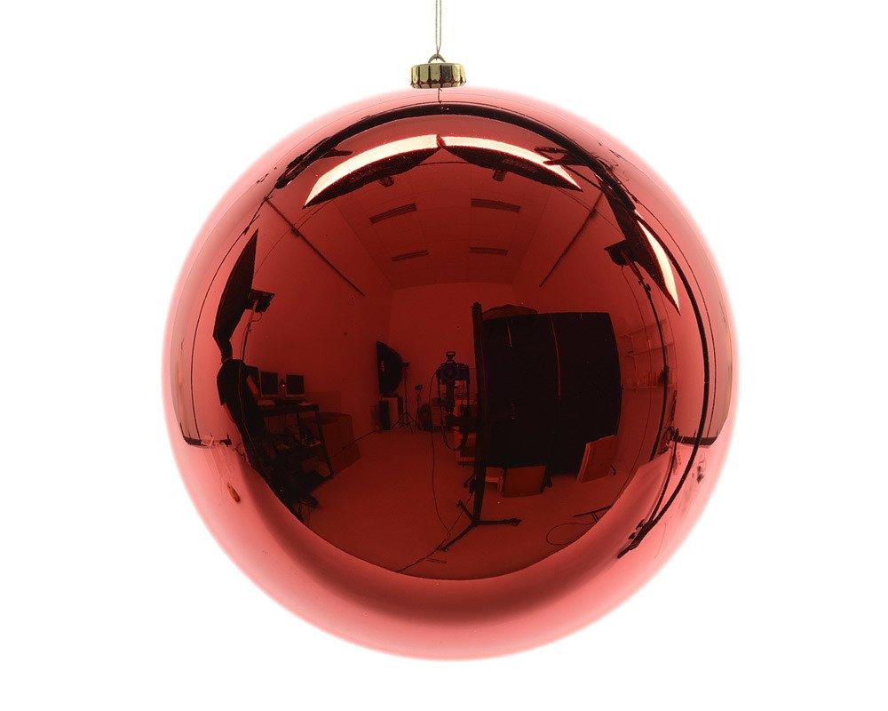 zeitzone-Groe-Christbaumkugel-Rot-Gnzend-XXL-Weihnachtskugel-Bruchfest-Wetterfest-25cm