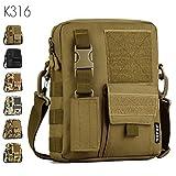 Taktisch Molle Umhängetasche Outdoor Kamera Daypack Rucksack Handtasche Schultertasche mit Trageriemen von FLYHAWK,K316-Braun