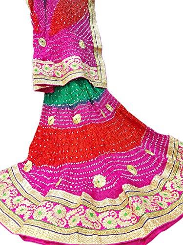 Lehenga Crepe Silk With Heavy Gotta Work Multi Color & Dupatta Silk Bandhej With Heavy Gotta Work