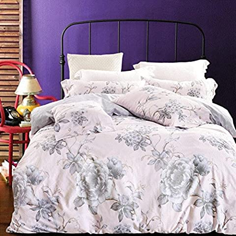 LY&HYL Home Decorations Cotton button bedding Floral Print Pattern Design 4pcs quilt Cover Bed Sheet and Pillowcase , 5 ,