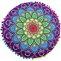 Funda Cojines, Xinan Indian Mandala Floor Pillows, Cojín bohemio redondo 43*43cm (E)