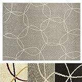 Design Teppich Cells | moderner Wohnzimmerteppich mit Trend Kreis Muster | in 2 Größen und vielen Farben für Wohnzimmer, Esszimmer, Schlafzimmer etc. | grau 120x170 cm