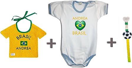 Zigozago - Weltmeisterschaft BRASILIEN personalisiert Set zusammengestellt von Lätzchen + Spielanzug + Schnullerkette.