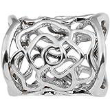 ULTNICE Women's Hollow Rose Scarf Buckle Ring (فضي)