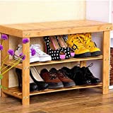Adoraland Bamboo Bench for Shower Entryway and Shoe with Seat 70x28x45 cm