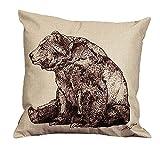 Bär Muster bedruckt Vintage Baumwolle Leinen Kissenbezug Sofa Taille Überwurf Kissenbezug Home Decor 45cm x 45cm