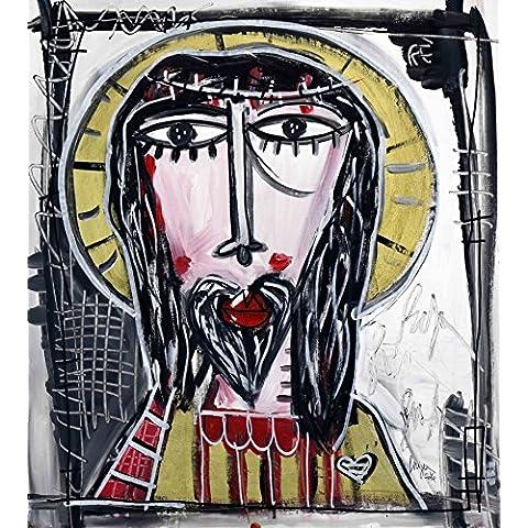 DIPINTO MODERNO ritratto di cristo arte sacra alessandro siviglia arte moderna 70x50 cm - Originale Cane Pop Art