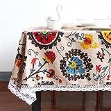 Sun Flower Tischdecke Bohemia Boho floral Tischdecke Spitze Edge Leinen und Baumwolle Tisch Cover 9Größen für Hochzeit Party Home Dekoration Esstisch Bezug waschbar Tisch Displayschutzfolie, multi, 140x140 cm (55x55 inch)
