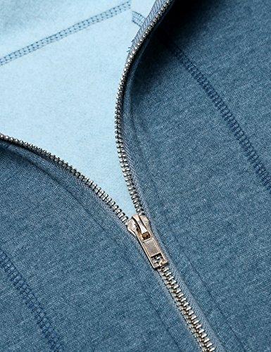 Meaneor Damen Einfarbig Kapuzenpulli mit Reißverschluss Elegant Sweatjacke Kapuzenpullover Hoodie Langarm Taschen Herbst/Winter Hellblau