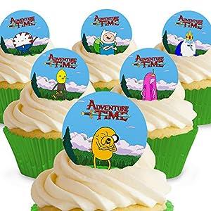 12 x Vorgeschnittene und Essbare Adventure Time Kuchen Topper (Tortenaufleger, Bedruckte Oblaten, Oblatenaufleger)