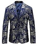 MOGU Herren Blazer Jacke mit Gold Floral DE 50 (Asian 3XL)