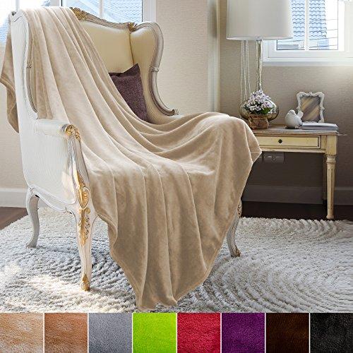 Couverture casa pura® Glory très doux | 2 tailles, 8 coloris | certifié Oeko-Tex, lavable | plaid canapé | matière souple | beige, 220x240cm
