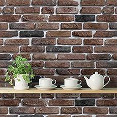 DeStudio Bricks Deep Dark Brown Peel and Stick' Wallpaper Sticker