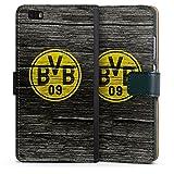 DeinDesign Huawei P8 lite (2015-2016) Tasche Leder Flip Case Hülle Borussia Dortmund BVB Holzoptik