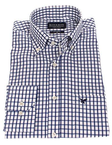 186020 - Bots & Bots - Herren Hemd - 100% Baumwolle - Button Down - Normal Fit Weiß-Navy