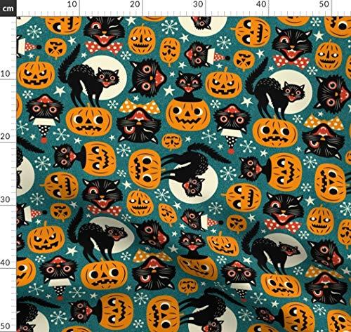 Schwarze Katzen, Kürbis, Retro, Halloween, Katzen, Gruselig, Vintage Halloween Stoffe - Individuell Bedruckt von Spoonflower - Design von Mirabelleprint Gedruckt auf Fleece