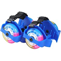 Lukzer 1 Pair Adjustable Flashing Colorful 2 Wheels Street Roller LED Flashing Light Whirlwind Pulley for Kids (Random Color)