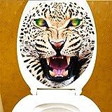 D DOLITY Sexy Lippen Wand Aufkleber WC Toilette Sitz Abziehbilder Entfernbar - Grünäugiger Leopard