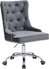 Riess Ambiente Design Bürostuhl Victorian SAMT Farbwahl mit Armlehne Stuhl höhenverstellbar mit Leichtlaufrollen