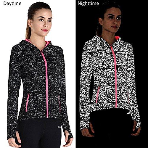 MotoRun Damen Nachtlauf Laufjacke Runningjacke Outdoorjacke mit Daumenloch und Seitentasche