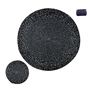 """DakshCraft Beaded Round Ethnic Placemat / Tablemat(Dia - 12"""") with 1 Small tea cup coaster ( Dia - 4"""") and 1 napkin ring(Dia -1.5"""") for Christmas Gift, Tableware, Dinnerware, Decorative Item, Stylist Item , Gifts Purpose, dining accessories ,kitchenware and Kitchen Accessories"""