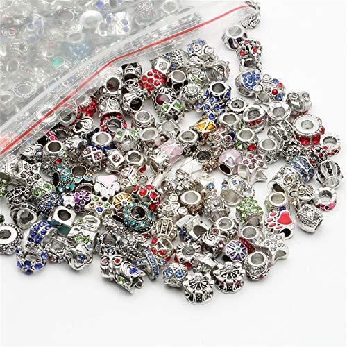 ILOVEDIY Mixed 45g Charms Beads Perlem mit großloch mit Strass für Charm-Armbänder