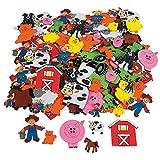 50 x Sticker Aufkleber Bauernhof Farm Tiere Moosgummi Schwein Kuh Pferd Ente Trecker Pony Basteln
