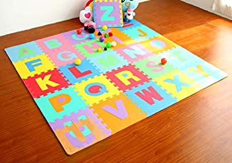 Baybee Premium Multi-Color EVA Mats for Kids- 26 PCs- A to Z Aplhabet and colors may vary (1 Feet x 1 Feet Single- 26 PCs Kit)