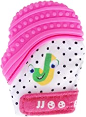 Forberesten Baby Boy's and Baby Girl's Silicone Self-Soothing Pain Relief Teething Mitt Teether Gloves, Pink