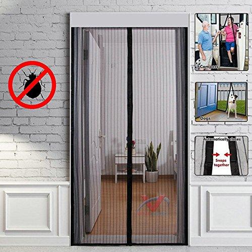 Tenda zanzariera magnetica per porte 100x210cm - rete per zanzariera porta d'ingresso automatico con velcro chiusura automatica, per soggiorno ufficio camera da letto casa (nero)