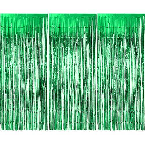 3 Packung Metallic Tinsel Vorhänge, Folie Fringe Shimmer Vorhang Tür Fenster Dekoration für Geburtstag Hochzeit (Grün)