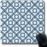 Schreibtischunterlage,Mexican Blue Cement Portugiesisch Fliesen Vierpass Muster Wirren Mosaik Abstrakt Petrol / Antik Büro Computer Laptop Notebook Mauspad, Rutschfester Gummi, 30X25Cm