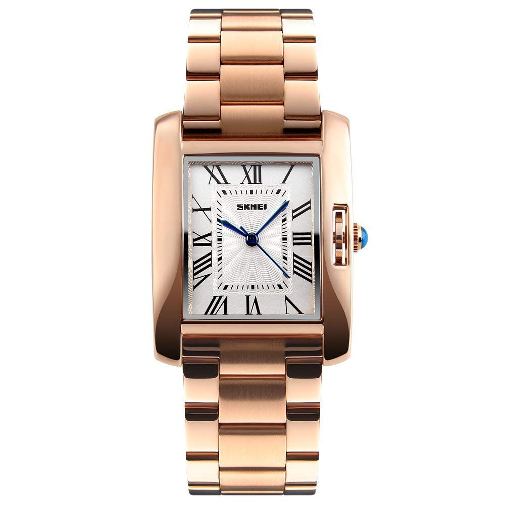 Women Watch,GOHUOS Stainless Steel Rectangle Quartz Analog Wrist Watch,Square Dial Silver Waterproof Luxury Casual Dress Analogue Watch for Women Lady Girl