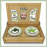 Baby Erinnerungsbox Holz | Personalisiert mit Foto, Namen & Daten | Geschenk-Set erste Locke erster Zahn | Milchzahndose | erste Locke Set (Grün)