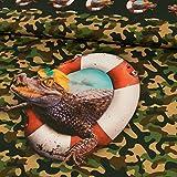 Baumwolljersey Digitaldruck Krokodil Camouflage Panel 1 m x