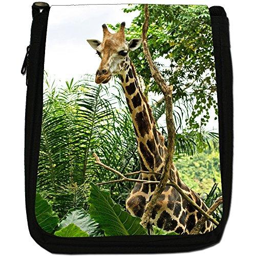 African giraffa Medium Nero Borsa In Tela, taglia M Giraffe In Trees